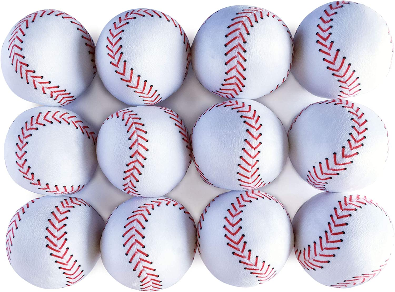 WOWMAX Toy Baseball Plush Fluffy Stuffed Sports Ball Soft Durable Sports Toy Gift for Kids 3 Inches Green and White Set of 10