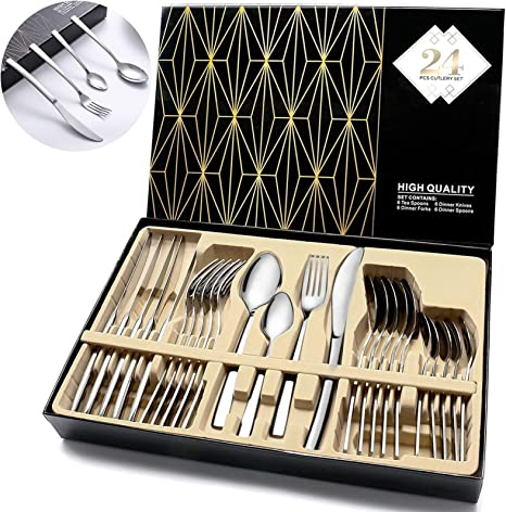 24 Piece Cutlery Set Mirror Polished Include Upgraded Knife//Fork//Spoon, Stainless Steel Silverware Set Flatware Set Utensils Set Service for 6
