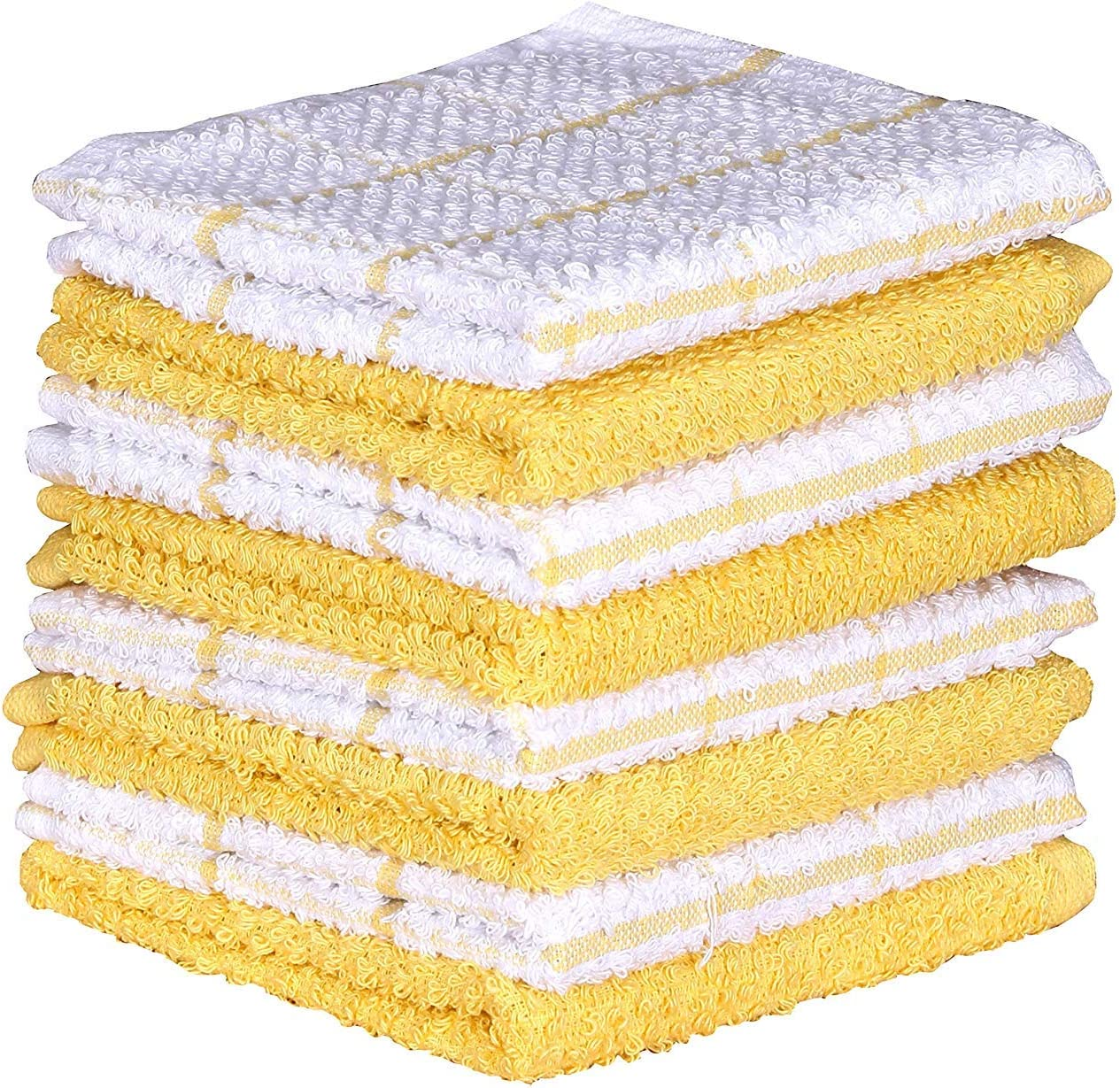 Amour Infini Cotton Terry Kitchen Dish Cloths Set of 8 (12 x 12 Inches), Yellow