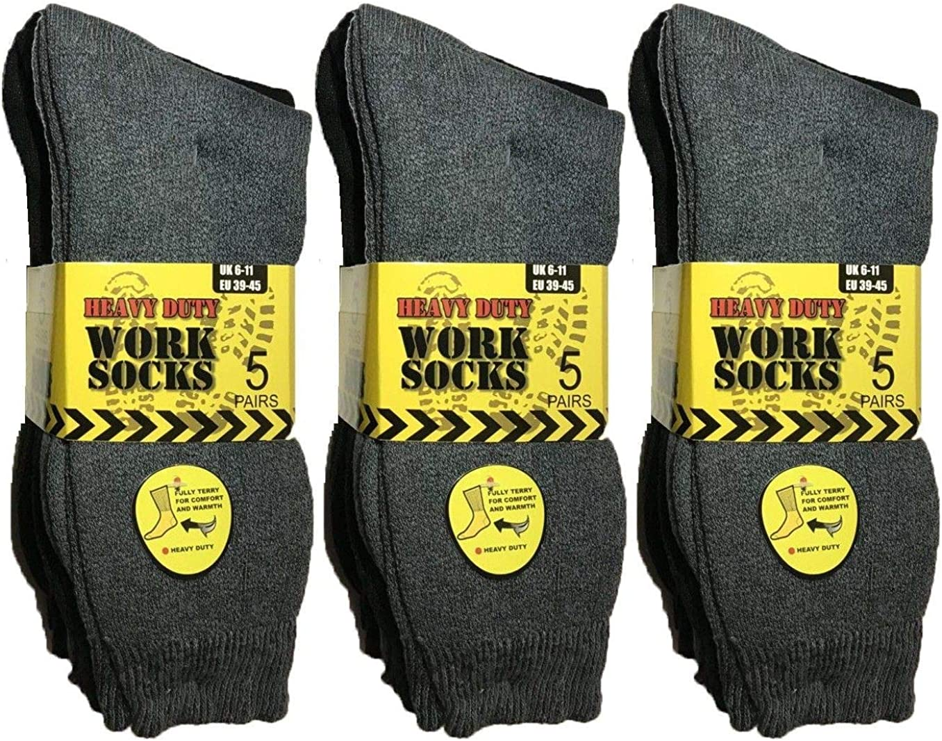 6 Pairs Mens Thermal Heavy Duty Work Socks Shoe Size UK 6-11 Safety Boot
