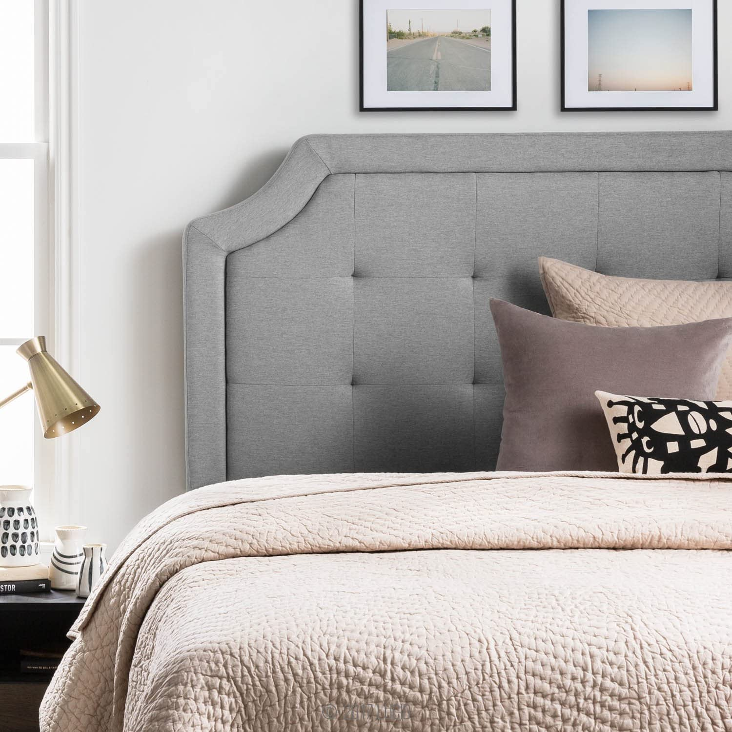 LUCID Bordered Upholstered Headboard with Square Tufting and Scalloped Edges for Queen Size Bed Frame (Stone)