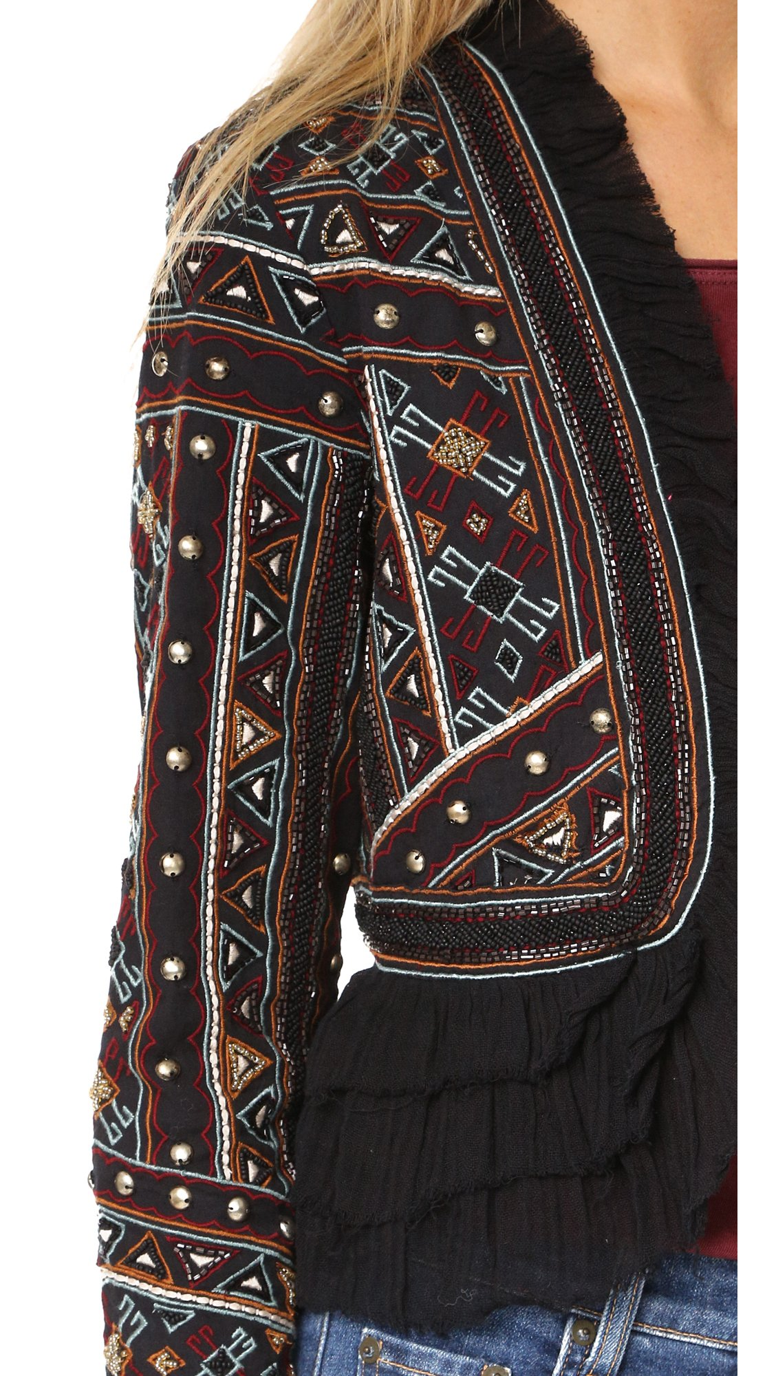 Love Sam Vannes Embroidered Jacket W/Ruffle Trim, Black, XS by Love Sam Vannes Embroidered Jacket, Black, XS (Image #5)