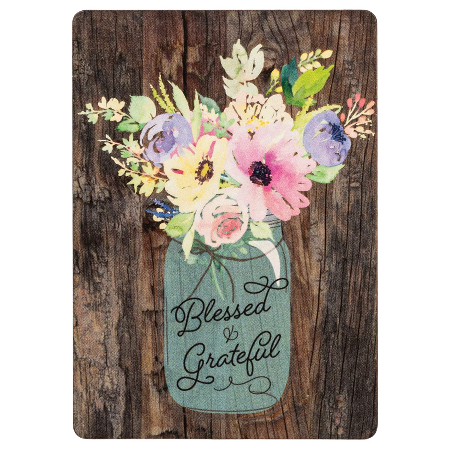 Blessed & Grateful Floral Mason Jar Wood Look 3 x 4 Inch Wood Lithograph Magnet