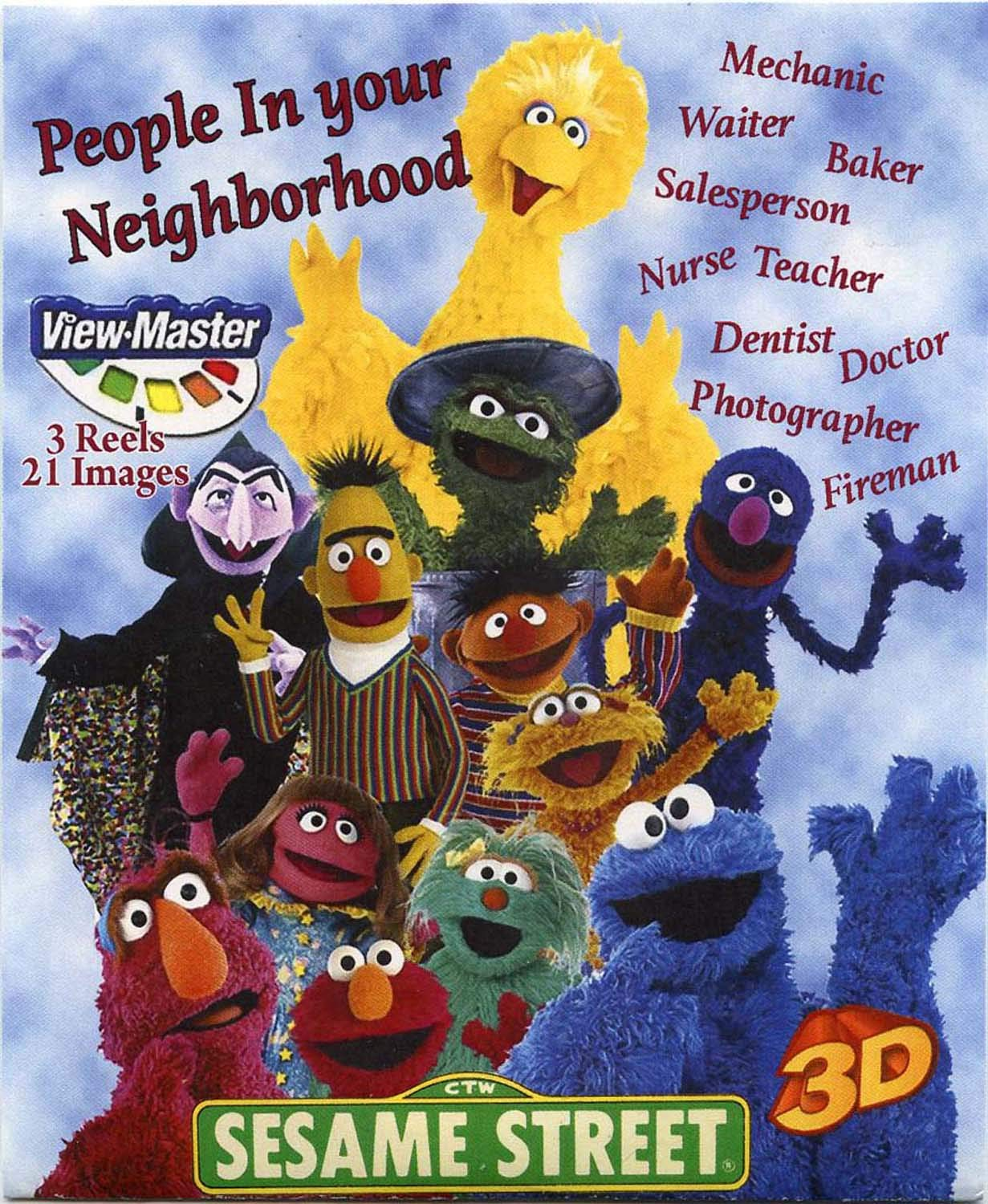 Sesame People in Your Neighborhood - Classic ViewMaster - 3 reels with 21 3D Images - Elmo, Big Bird, Cookie Moster