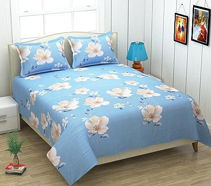 Amazon Com Kritarth Handicrafts Sky Blue Color Flower Design Queen