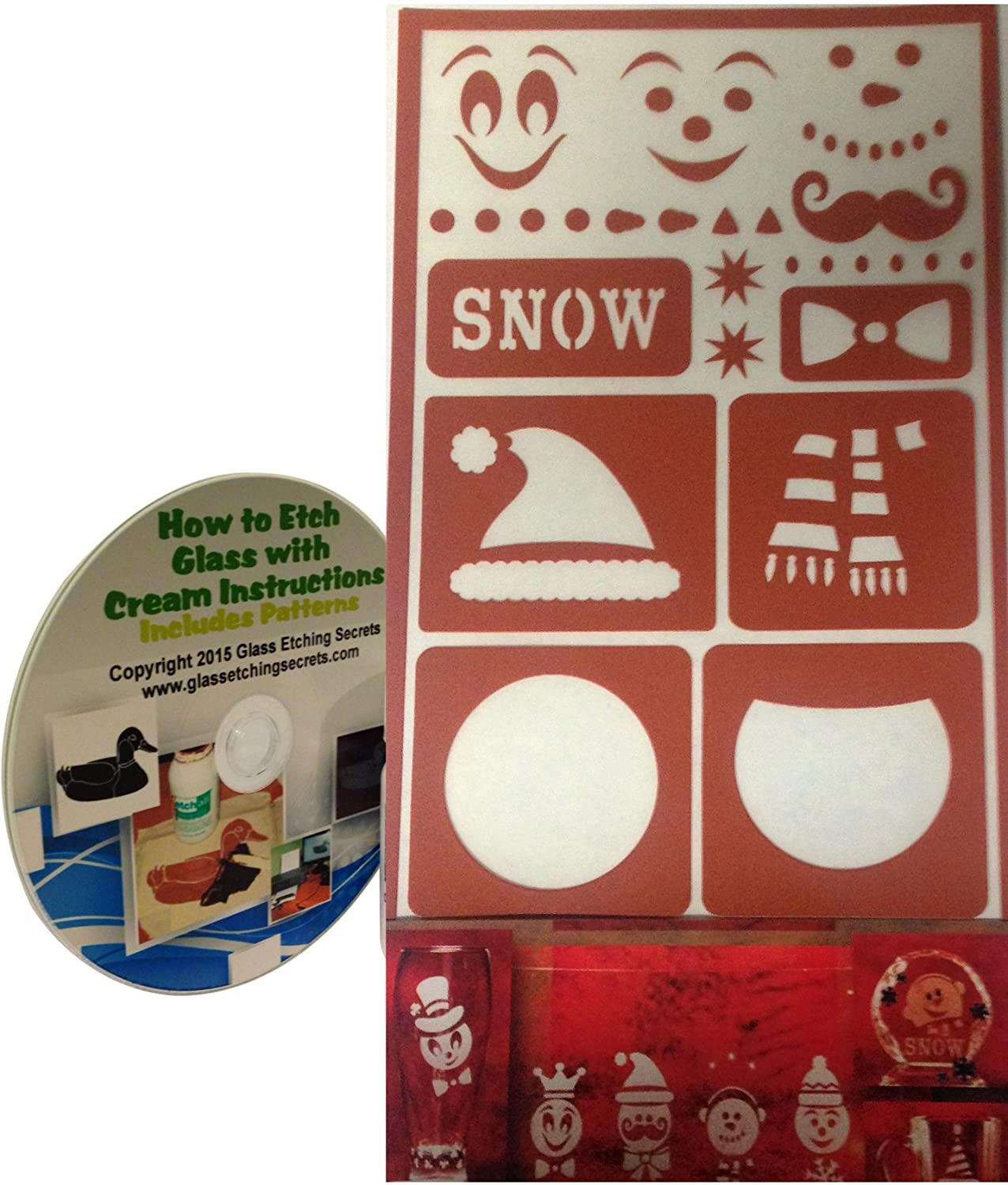 Build a Snowman Stencils for Glass Etching or Painting How to Etch CD