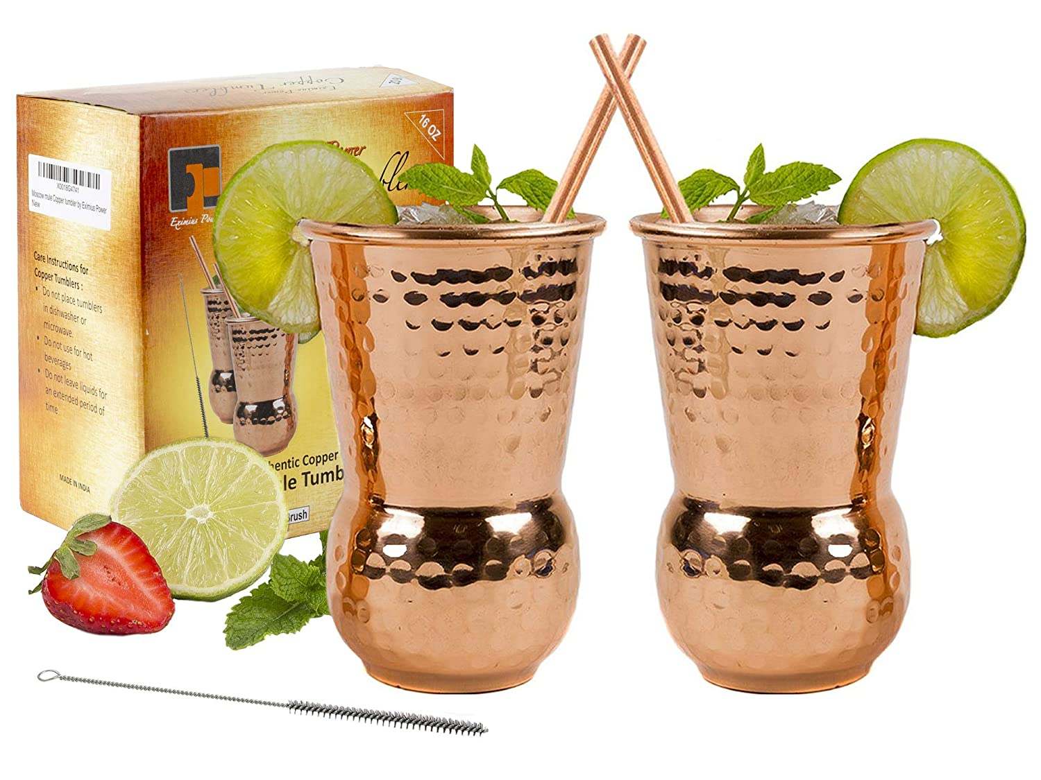 Eximius Power Moscow Mule Copper Mugs - Copper Tumbler Cups 100% pure copper glass for mule recipe cocktail beverages drinks for men, Handcrafted, 16oz, Set Of 2,20 Gauge Hammered design in a Gift Box SYNCHKG110893