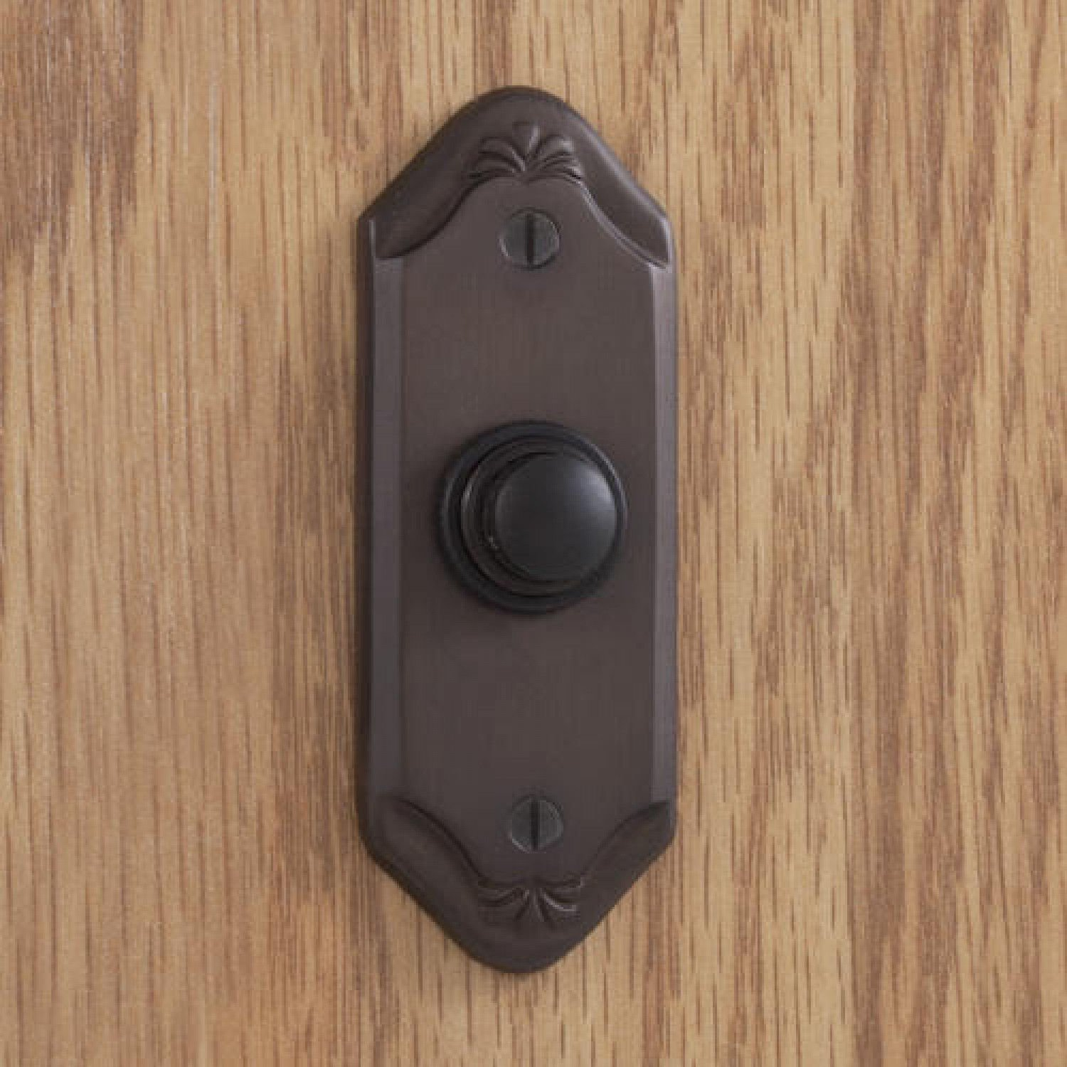 Casa Hardware Sprig Design Solid Forged Brass Metal Doorbell with Push Button in Oil Rubbed Bronze Finish