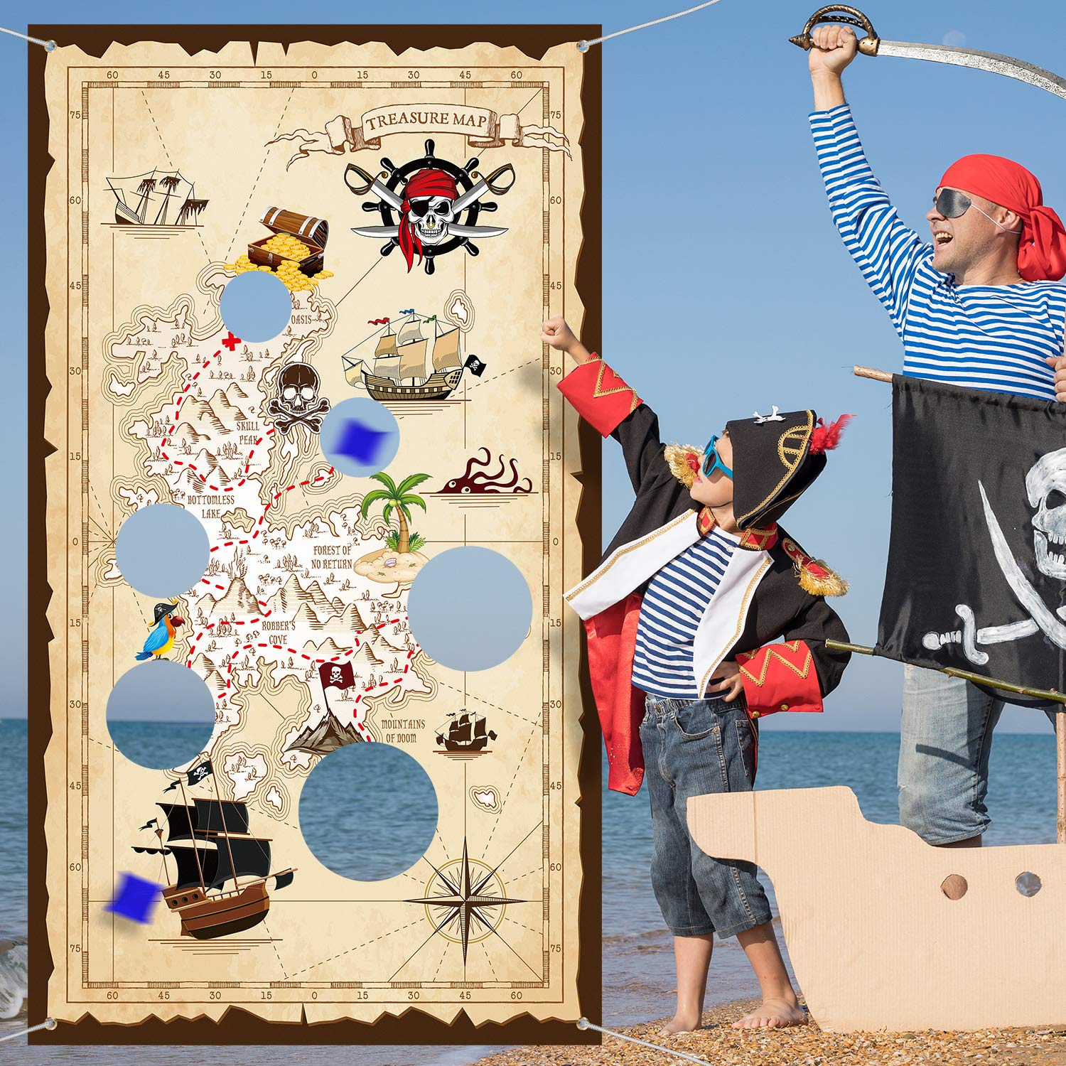 Pirate Bean Bag Toss Game Pirate Treasure Hunt Toss Games with 3 Bean Bags, Pirate Theme Party Decorations and Supplies by Blulu