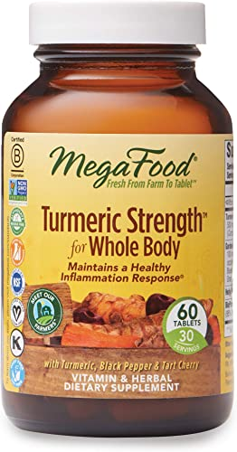 MegaFood, Turmeric Strength for Whole Body, Maintains a Healthy Inflammation Response, Vitamin and Herbal Dietary Supplement Vegan, 60 Tablets 30 Servings FFP