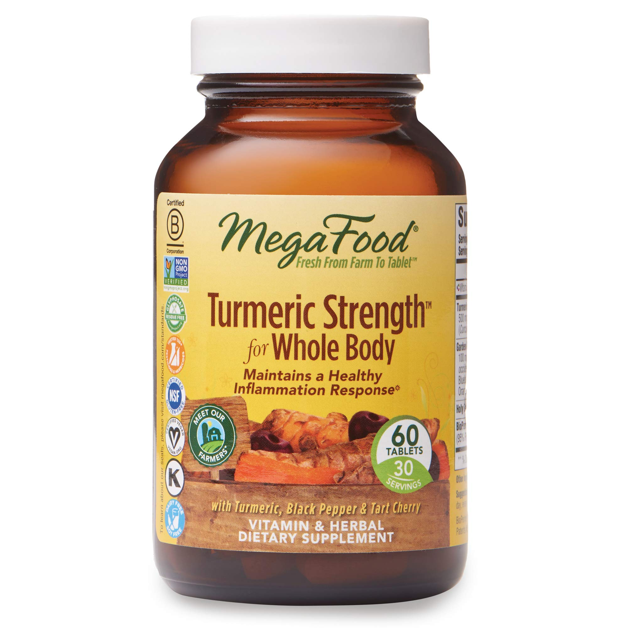 MegaFood, Turmeric Strength for Whole Body, Maintains a Healthy Inflammation Response, Vitamin and Herbal Dietary Supplement Vegan, 60 Tablets (30 Servings) (FFP)