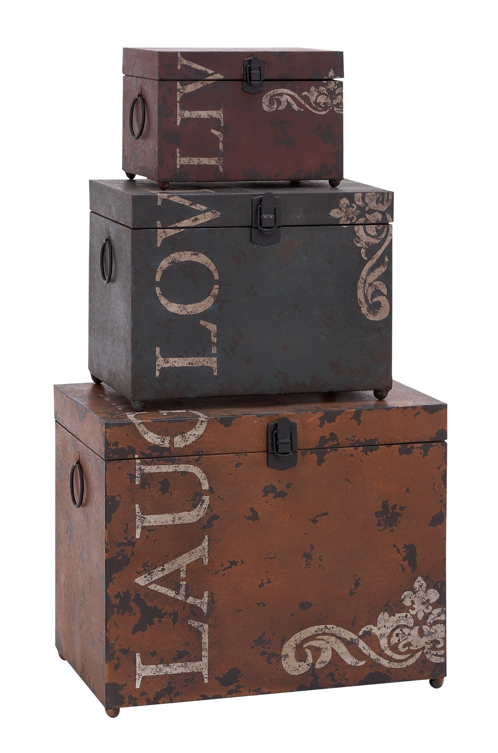 Deco 79 53854 Metal Trunks (Set of 3), 16''/12''/9'' by Deco 79 (Image #1)