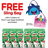 MILO Less Sugar 200ml 2 Cluster with Free Lunch Bag,  200 ml  (Pack of 12)