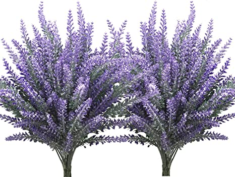 4 Pcs Flocking Plastic lavender Bushes Artificial Plants Home Decoration
