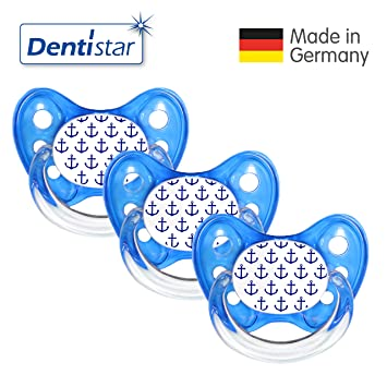 zahnfreundlich /& kiefergerecht Dentistar/® Schnuller 3er Set Nuckel Silikon in Gr/ö/ße 1 von Geburt an 0-6 Monate Beruhigungssauger f/ür Babys Blau Anker