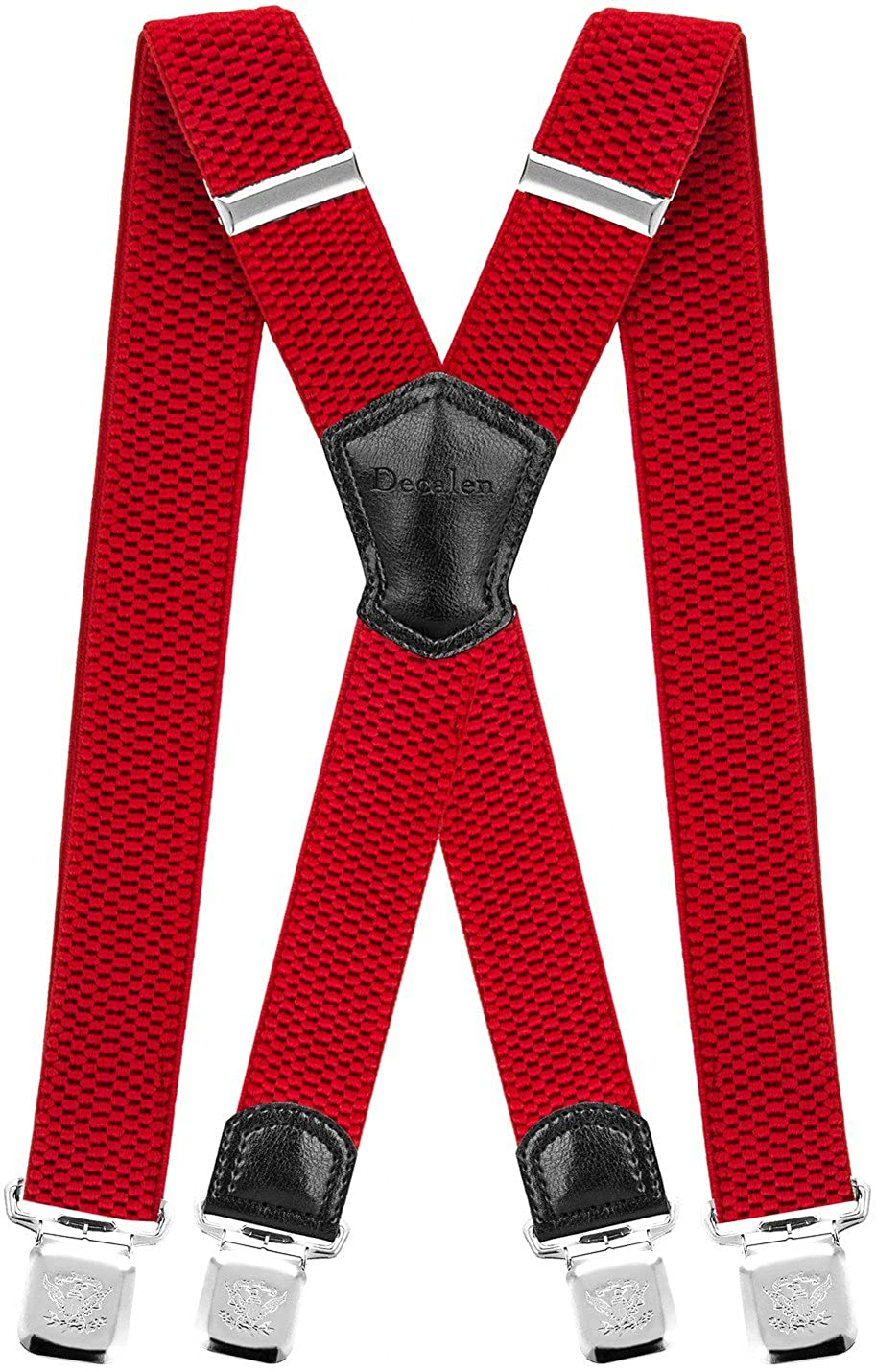 Decalen Mens Braces with Very Strong Metal Clips Wide 4 cm 1.5 inch Heavy Duty Suspenders One Size Fits All Men and Women Adjustable and Elastic X Form