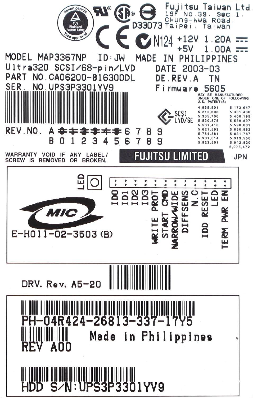 MAP3367NP, 36GB 10K RPM U320 68pIN SCSI