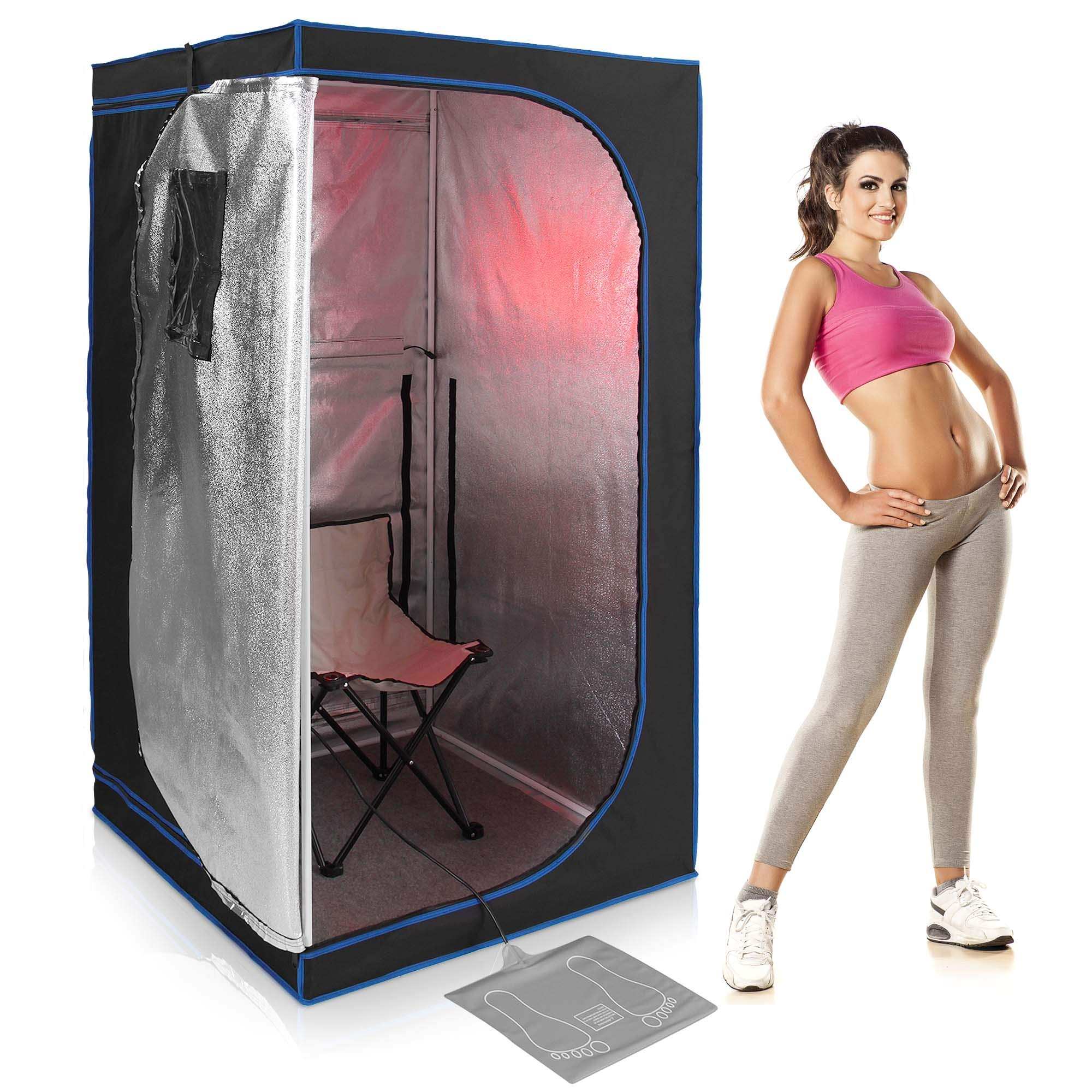 SereneLife Full Size Portable Sauna - Infrared Heating Personal Home Spa - with Heating Foot Pad and Portable Chair by SereneLife