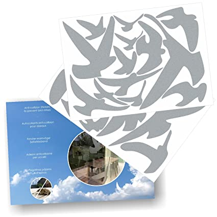 Anti collision stickers to prevent bird strikes on window glass set of 17 silhouettes