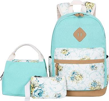 Amazon Com Bluboon Canvas School Backpack Set 3 Pieces
