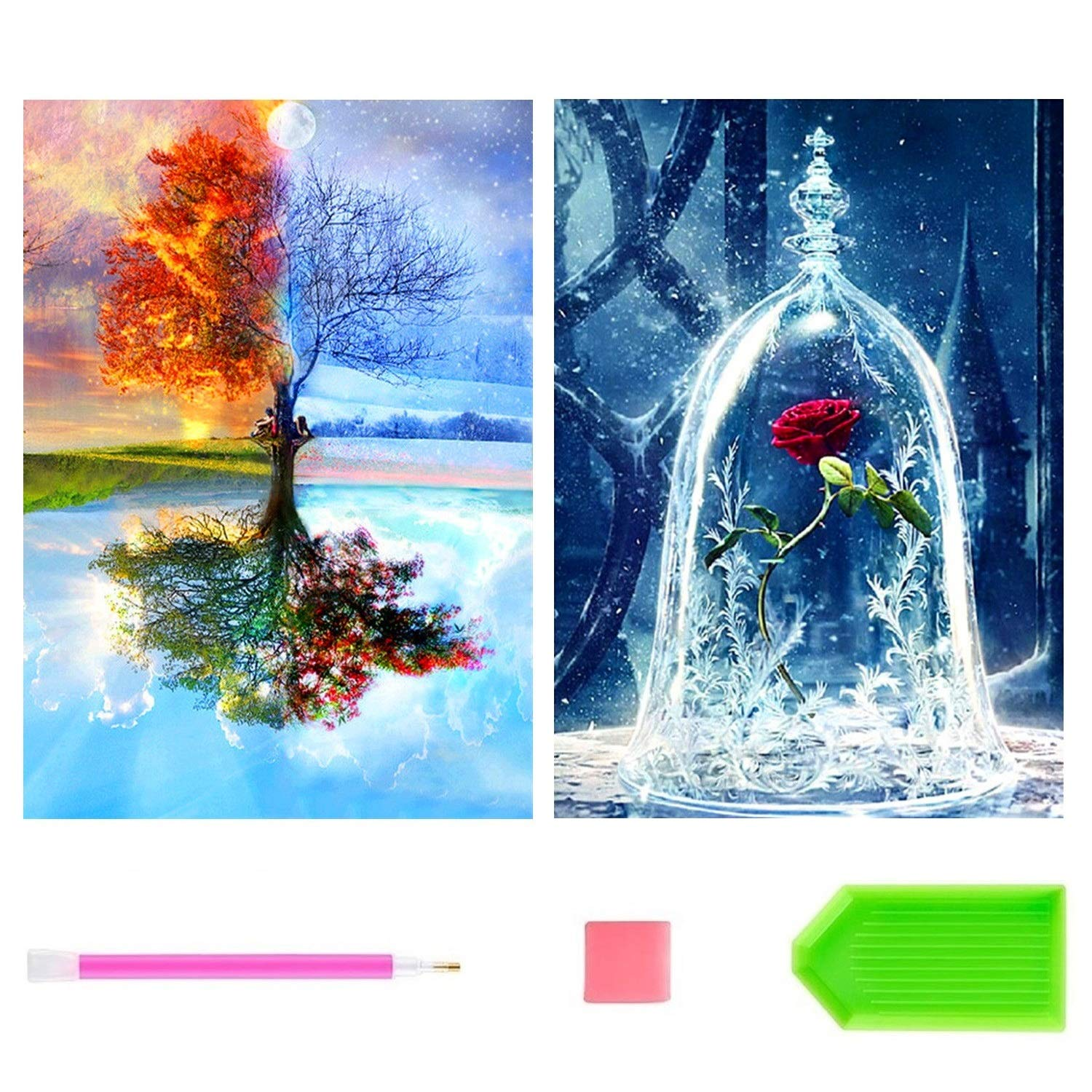 Diamond Painting, 2 Pack DIY Paint with Diamonds Full Drill, 5D Diamond Painting Kits for Adults, Four Seasons Tree & Rose Painting with Diamonds for Home Wall Decor by Number Kits (12X16inch)