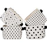 Sea Team Foldable Mini Square New Black and White Theme 100% Natural Linen & Cotton Fabric Storage Bins Storage Baskets Organizers for Shelves & Desks - Set of 4