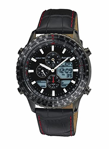 c28456f6f64b Accurist Men s Quartz Watch with Black Dial Chronograph Display and Black  Leather Strap Ms1036Bb