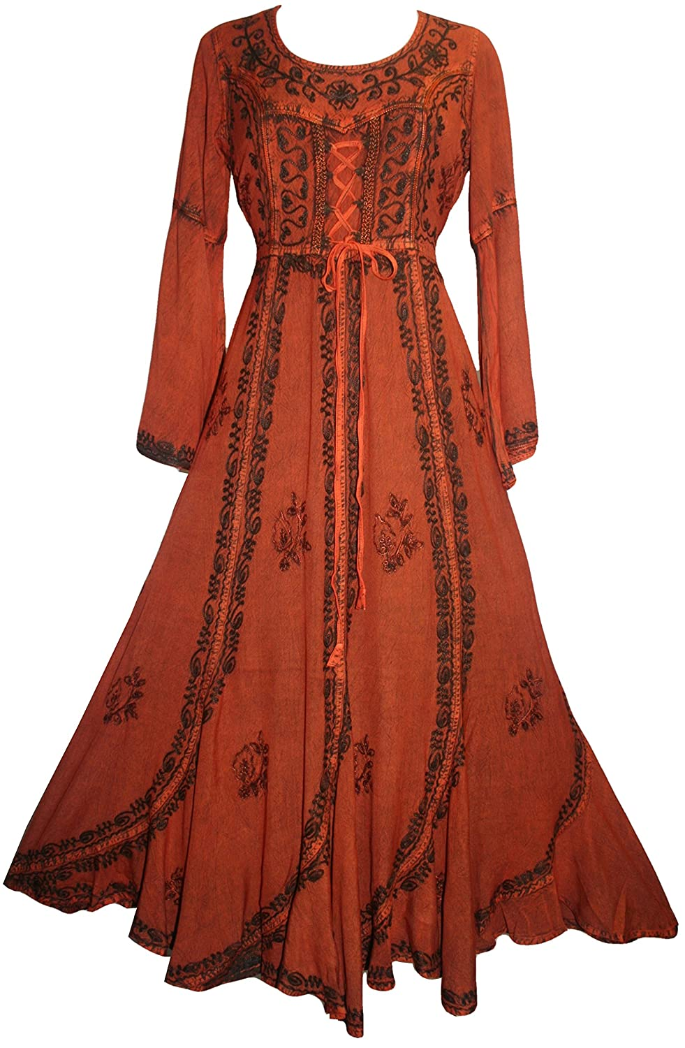 c2ddf2c02d Stunning Medieval Gypsy Bell Sleeve Long Scalloped Dress. Detailed floral  dense thick embroidery running vertically. Scooped neck with detailed  embroidery.