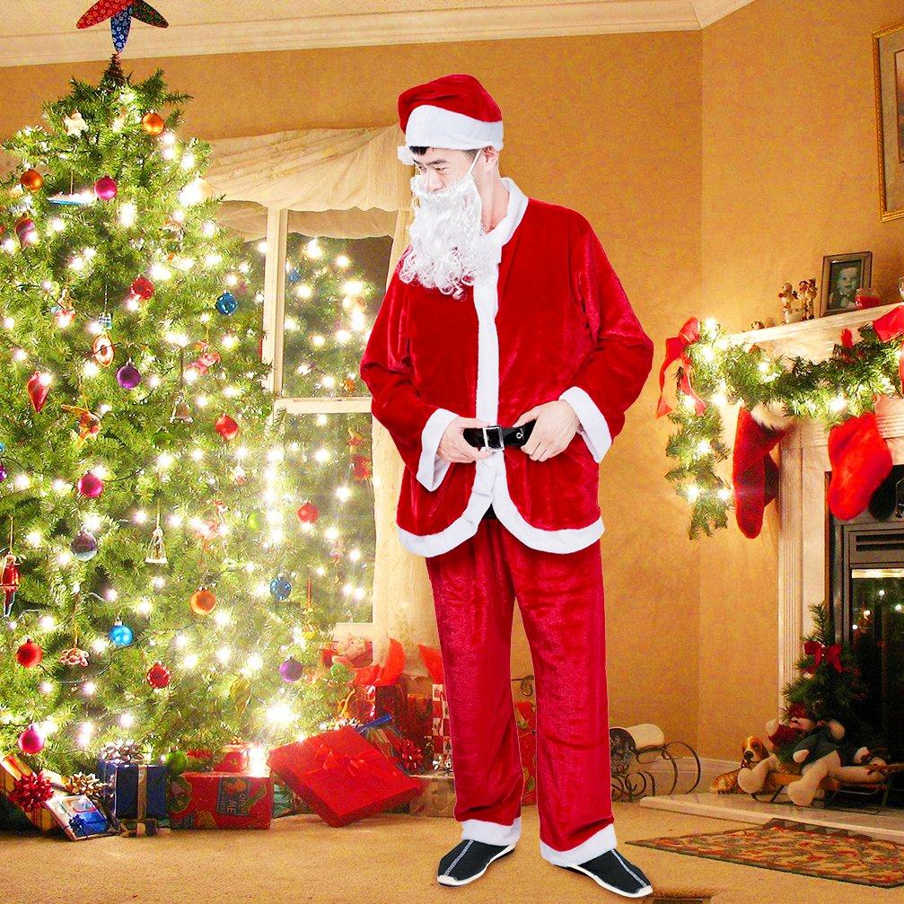 US SHIP!Adult Suit Christmas Plush Outfit Deluxe Santa Claus Costume Fancy Dress