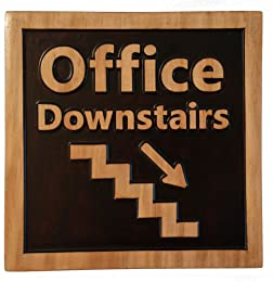 """Office Downstairs, Decorative Wood Plaque, Carved & Stained, Office Sign, 10"""" x 10"""""""