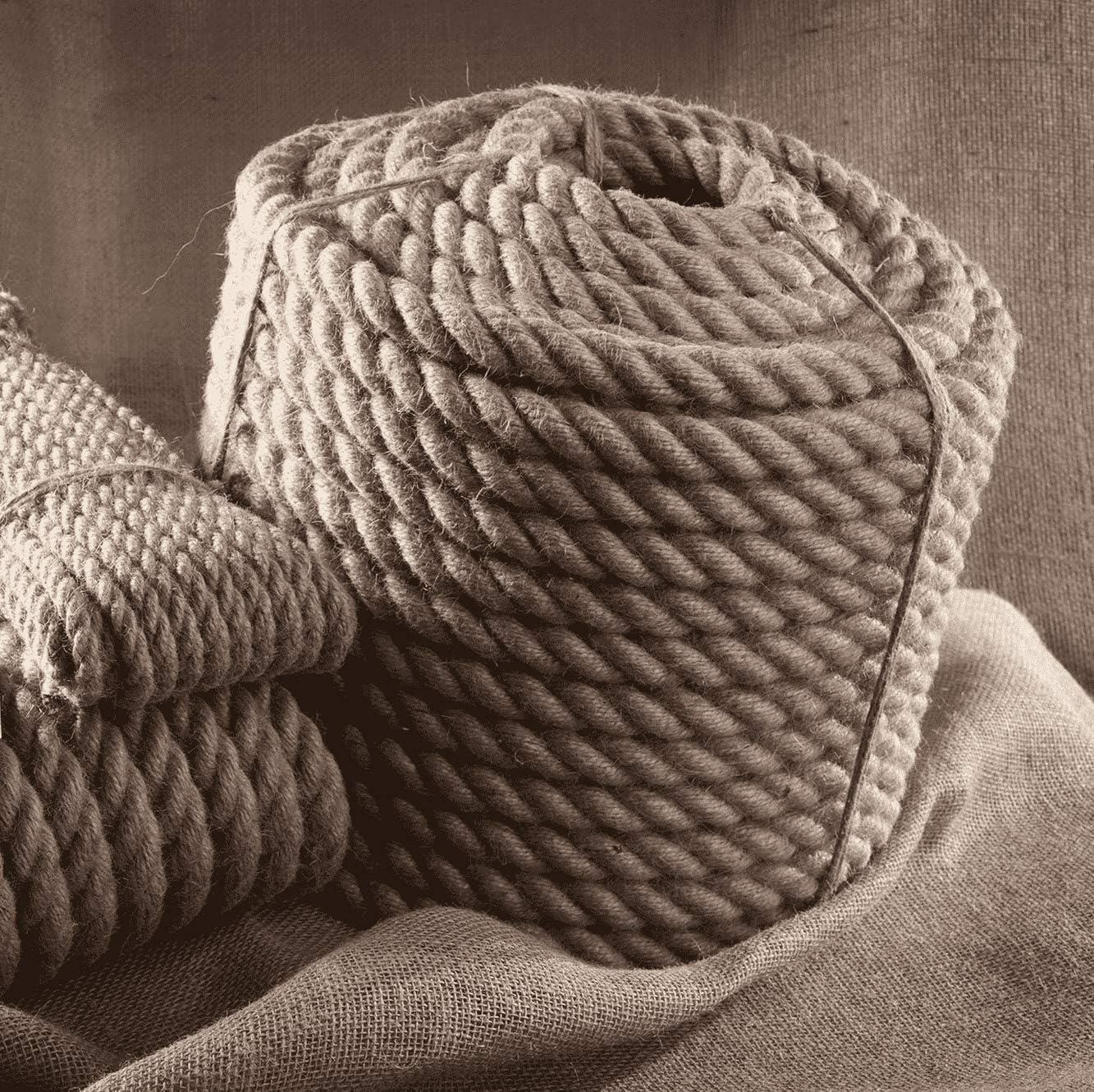 40mm Tauwerk Seile Leine Rope Naturhanf Hanfseil Tauziehen Jute Tauziehen Absperrseil Handlauf Dekoration DIY IST-Bild SFS JUTESEIL 6mm