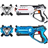 Best Choice Products Set of 2 Kids Laser Tag Blasters w/ Vests, Multiplayer Mode - Blue/White