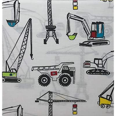 Boy Zone Construction Vehicles Twin Sheet Set 100% Cotton: Kitchen & Dining