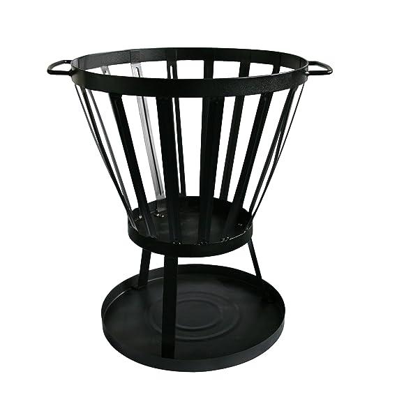 Kamino-Flam - Brasero para jardín, Estufa de leña para terraza, balcón, patio, Chimenea para exterior (placa de base y cajón de ceniza) - negro: Amazon.es: ...
