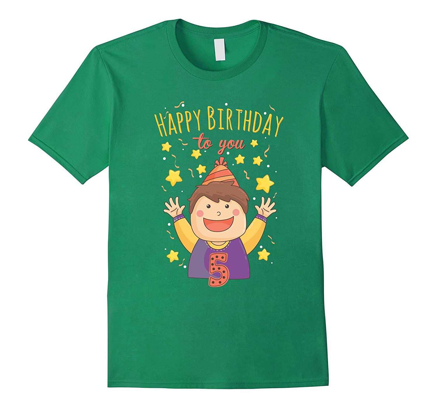 5th fifth 5 five years old happy birthday t shirt boys kids-TD