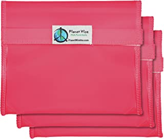 product image for Planet Wise Reusable Tint Sandwich Bag - 3-Pack - Hook and Loop (Pink)