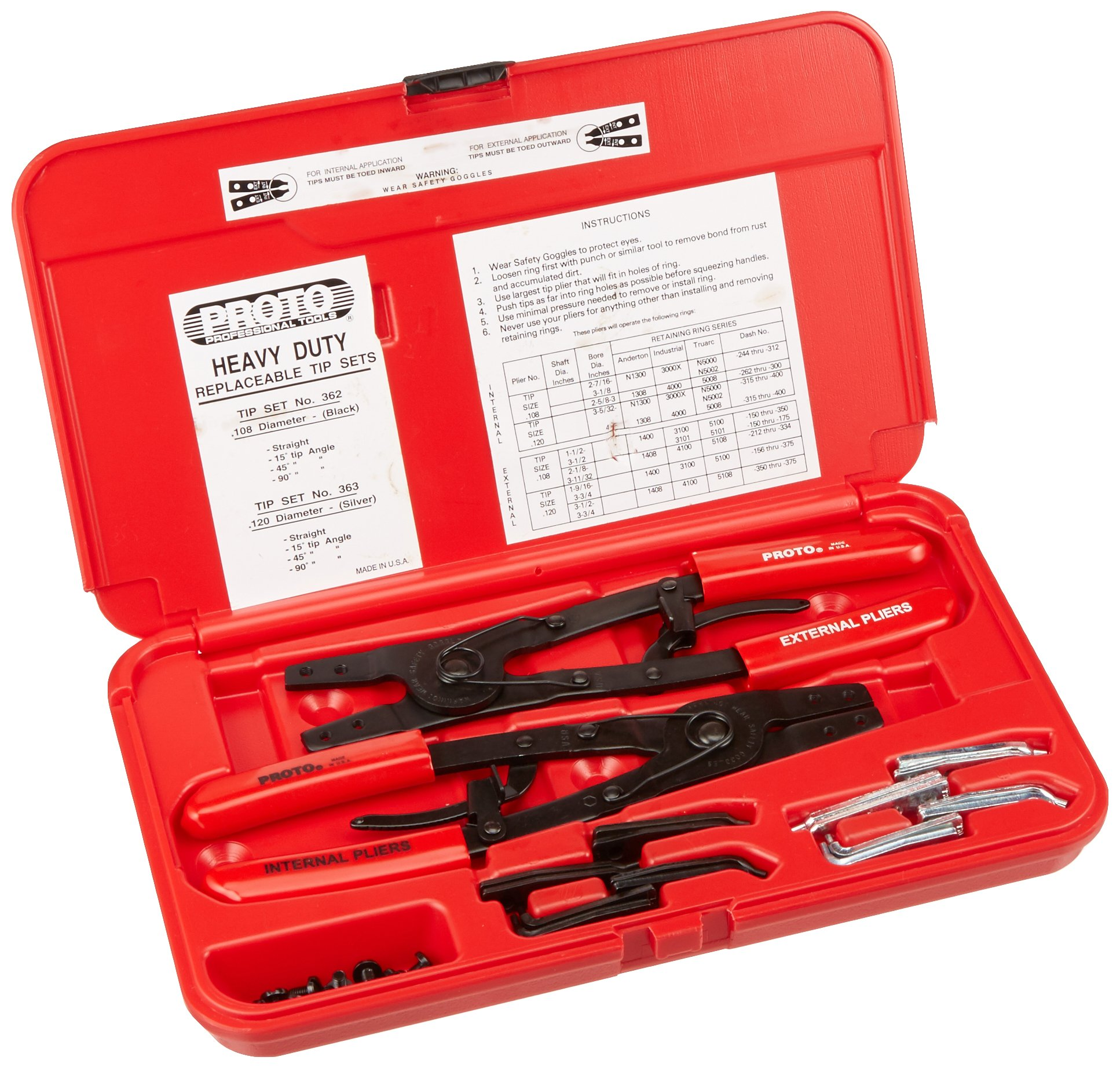 Stanley Proto J361 Proto Pliers Set with Replaceable Tips, Large, 18-Piece by Stanley-Proto