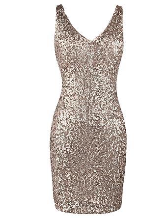 621f198acf PrettyGuide Women Sexy Deep V Neck Sequin Glitter Bodycon Stretchy Mini  Party Dress  Amazon.co.uk  Clothing