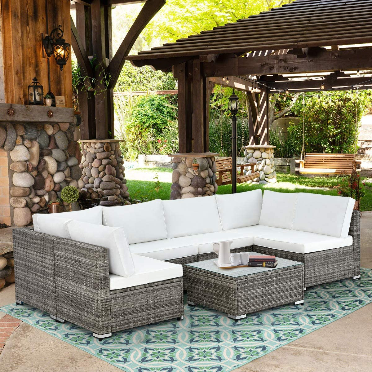 U-MAX 7 Piece Outdoor Patio Furniture Set, Gray PE Rattan Wicker Sofa Set, Outdoor Sectional Furniture Chair Set with White Cushions and Tea Table, White