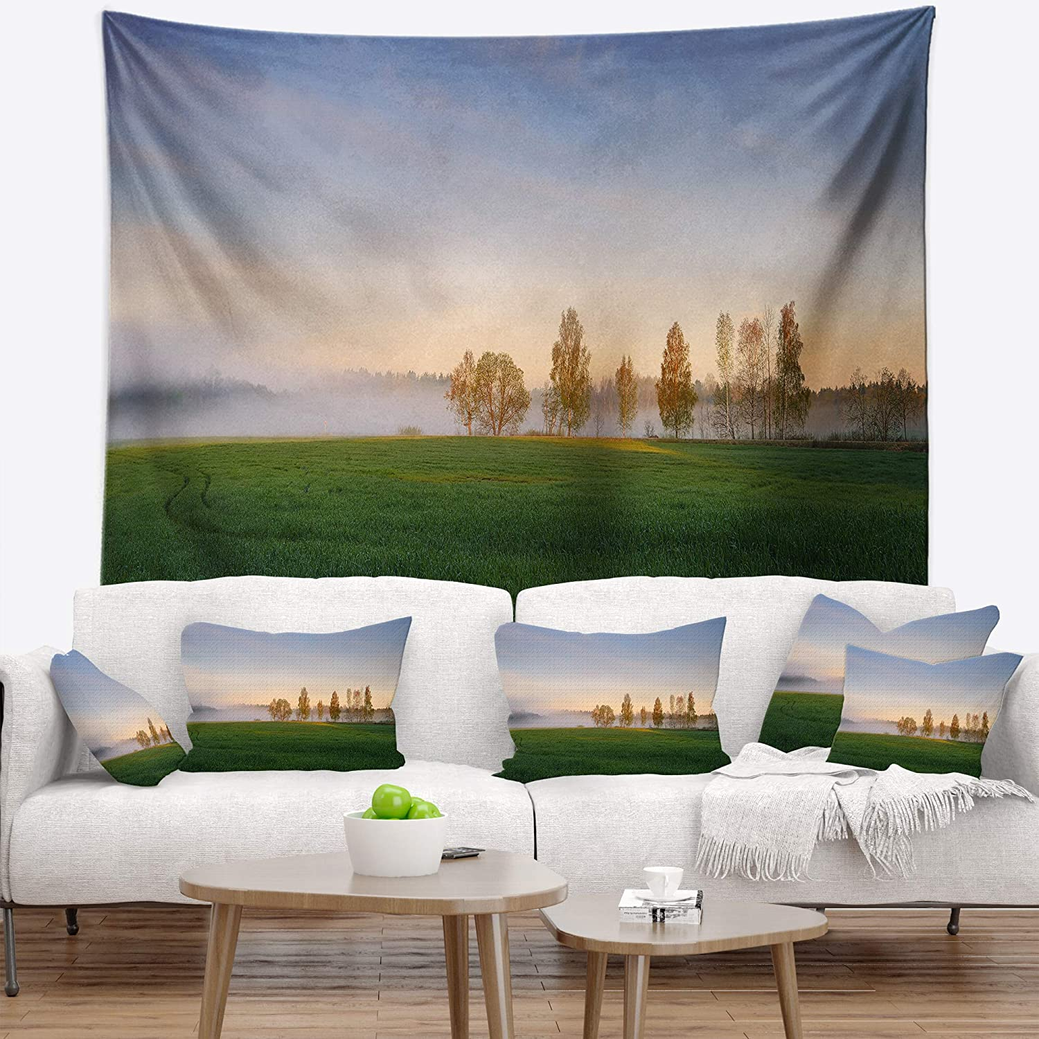 Designart TAP15234-39-32  Foggy Early Morning Panorama Landscape Blanket D/écor Art for Home and Office Wall Tapestry Medium 39 x 32 Created on Lightweight Polyester Fabric