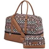 Realer Canvas Weekender Bag, Womens Overnight Bag Carryon Weekend Travel Duffel Tote with Shoe Compartment with Toiletry Bag