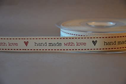 b86b55c2d671a Berisfords 15 mm Hand Made with Love Ribbon, Natural