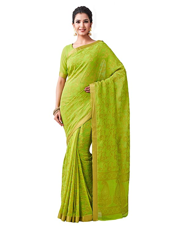 MIMOSA Women's Woven Pure Chiffon Saree With Unstitched Blouse  74_Green  Sarees