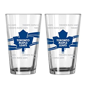 29b7a67f16bf NHL Toronto Maple Leafs Satin Etch Pint Glass Set (Pack of 2), 16-Ounce,  Charts & Maps - Amazon Canada