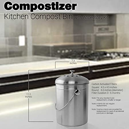 Amazon.com: Introducing compostizer Acero Inoxidable 1,3 Gal ...