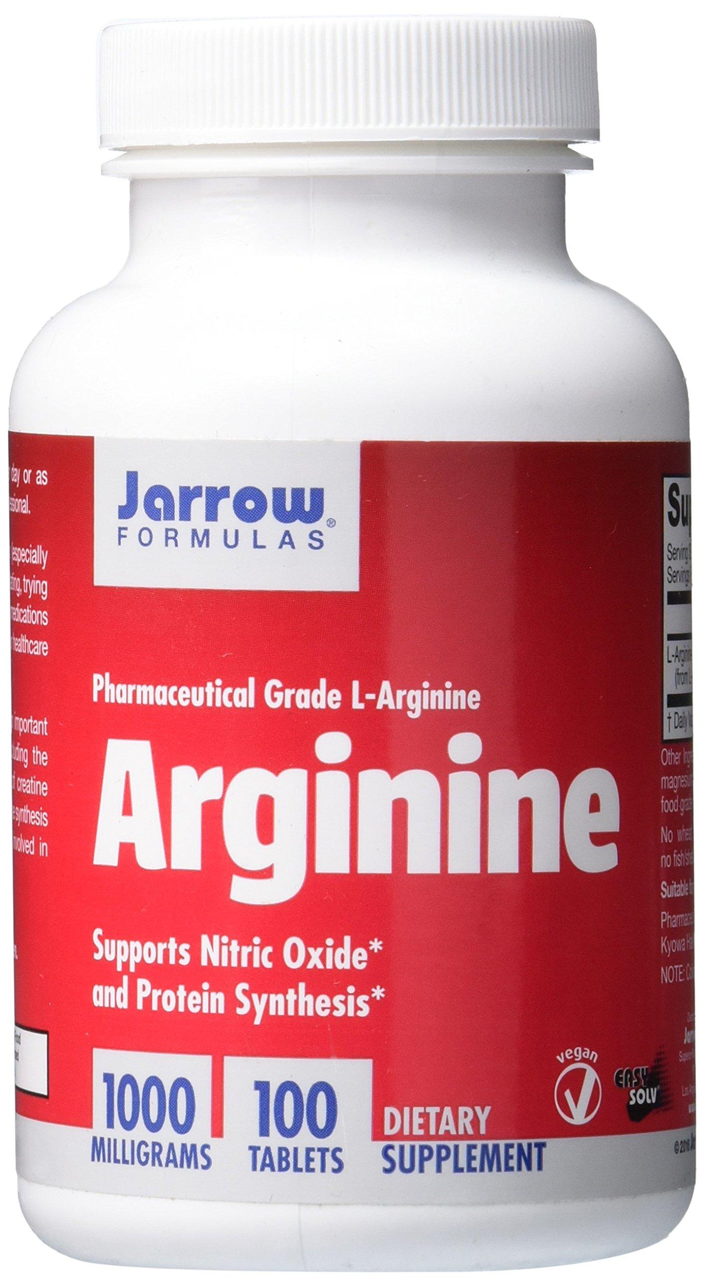 Jarrow Formulas L-Arginine, Supports Cardiovascular Health, 1000 mg, 100 Tabs