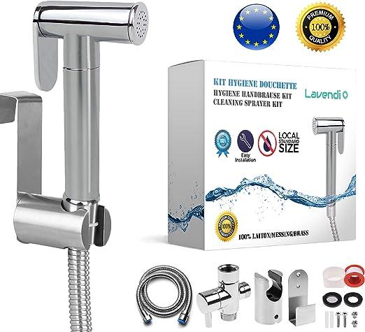 Lavendi Kit Douchette Wc Toilettes Bidet Hygiénique Taille 38 1217 I Qualité Laiton Premium Avec Adaptateur Robinet Darrêt Flexible Et Support