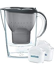 BRITA Wasserfilter Marella blau inkl. 3 MAXTRA+ Filterkartuschen – BRITA Filter Starterpaket zur Reduzierung von Kalk, Chlor & geschmacksstörenden Stoffen im Wasser