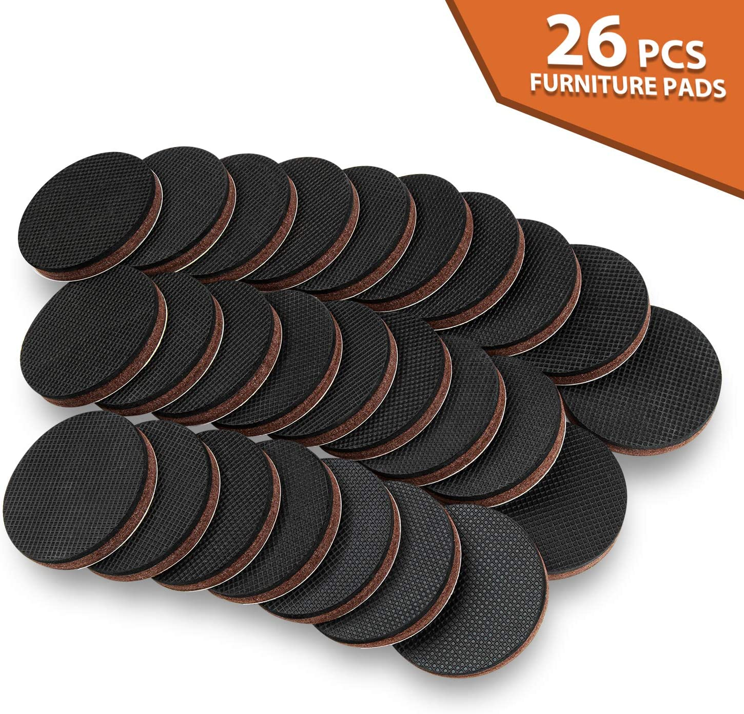 "Non Slip Furniture Pads 26Pcs 2"" Furniture Grippers Self Adhesive Non Skid Furniture Pads, Anti Slip Rubber Pads for Furniture Legs, Furniture Stopper Floor Protector for Hardwood Floor"