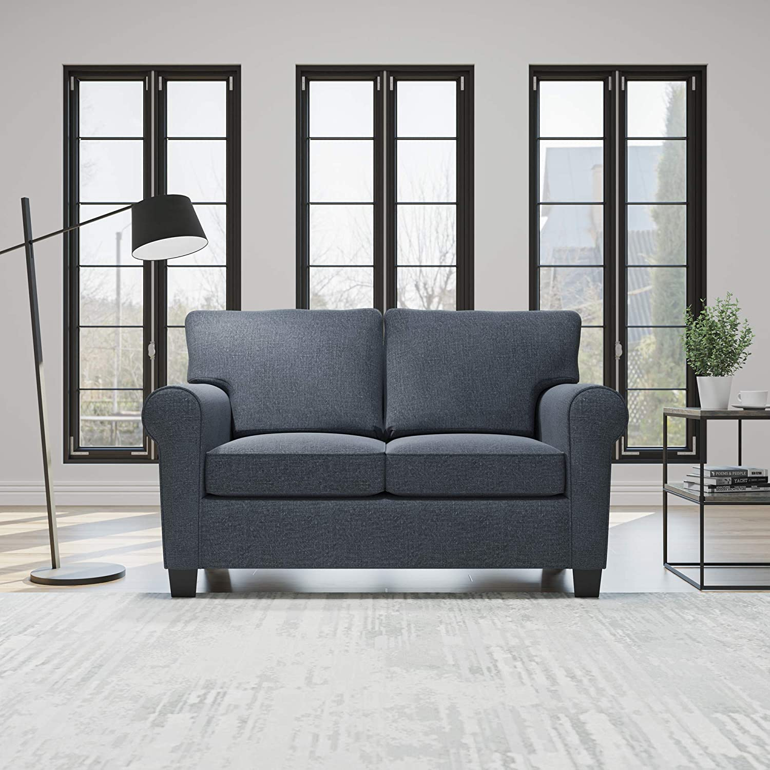 Edenbrook Willow Upholstered Sofa and Loveseat with Rolled Arms – Contemporary, Casual, Cozy, and Comfortable Love Seats, Midnight Navy